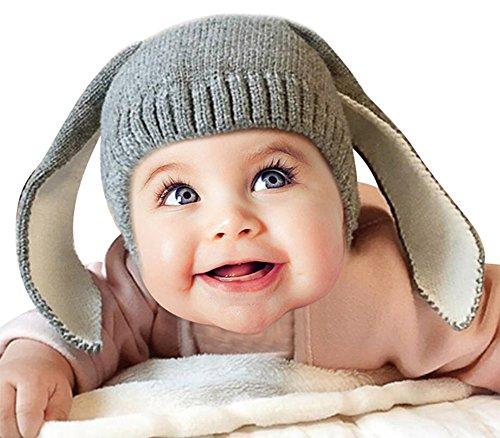 MissSoul Coniglio Divertente Inverno del Bambino delle Ragazze dei capretti di lana caldo Fumetto Hood Sciarpa Ragazzi Cappello,Nero