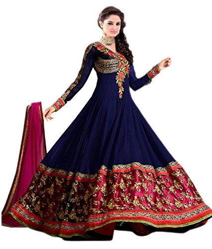 Super Deal Woman\'s Blue Georgette Anarkali Unstitched Free Size XXL Salwar Suits Sets Dress (Indian Clothing)(S2117)