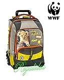 ZAINO TROLLEY SCUOLA WWF FOR PLANET LEONE verde arancione università viaggio