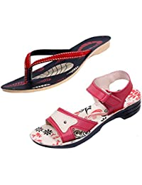 Indistar Women Comfortable Flip Flop House Slipper And Sandal-Cream/Red/Black+Red- Pack Of 2 Pairs - B072M7CS35