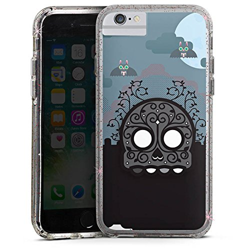Apple iPhone 7 Bumper Hülle Bumper Case Glitzer Hülle Skull Friedhof Cemetery Bumper Case Glitzer rose gold