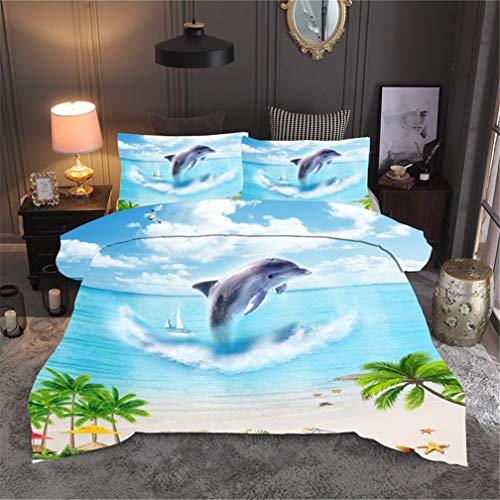 Stillshine. Bettwäsche-Sets Galaxy 3D Planet Sommer Ozean Delphin Welligkeit Grün Wald Digitaldruck Bettbezug und Kissenbezug Blau Weiß Grün (Strand Ozean Delphin, Einzelbett 135x200 cm)