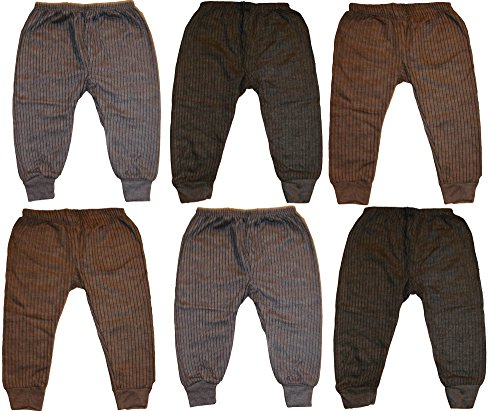 Kids Baby Boys and Girls Woollen Winter Body Warmer Striped Thermal Pyjama Bottom Pack of 6 (6-12 Months)
