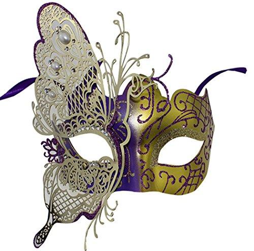 Lovely und niedlicher Schmetterling Metall Lady Masquerade Halloween Mardi Gras Geheimnisvolle Party (Maske Mardi Schmetterling Gras)