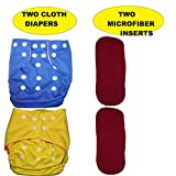 Bottom Genius Reusable Pocket Cloth Diapers for Babies Set of 2 with 2
