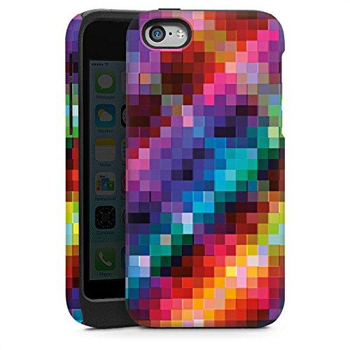 Apple iPhone 5s Housse Étui Protection Coque Pixel couleurs Motif Cas Tough brillant