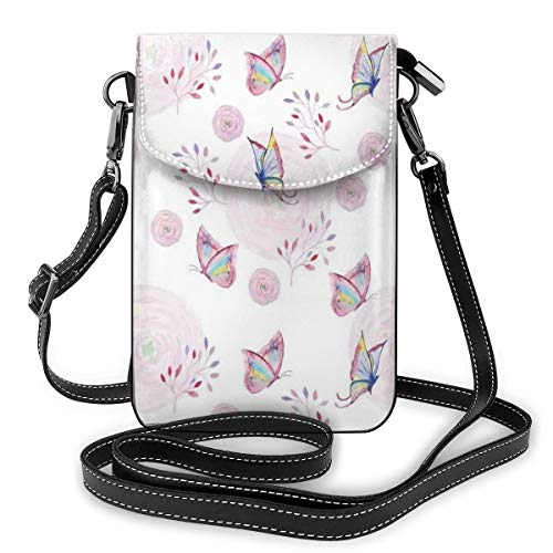 Women Mini Purse Crossbody of Cell Phone,Butterflies and Branches Romantic Spring Retro Faith Optimism Change Fly Theme -