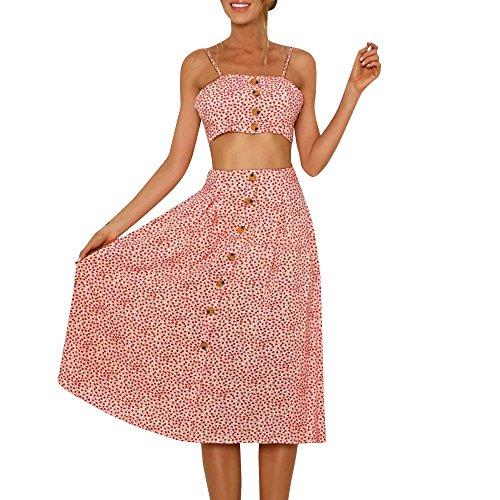 Jorich Frauen Sommer Zweiteilige Kleider Chiffon Straps Rückenfrei Top Kurzen Rock Sexy Hohe Taille Mini Strandkleid Outfit Set Clubwear (XL, Rot)
