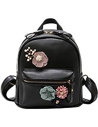 XLHMILY Mini Zaino donna Nero in pelle PU fiore di boho Borsa etnica  piccola borsa a tracolla zaino da spalla per… 34b8537e77c