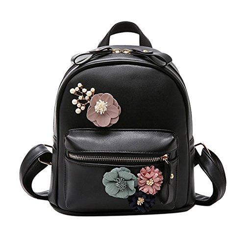Bcony Mini Mochila de mujer de cuero PU Negro flor de boho hecha a mano Bolso de hombro pequeño bolso casual de la universidad mochila para niñas adolescentes