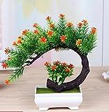 LOF-fei Künstliche Pflanzen Topfpflanzen Dekoration Büro Esstisch Zubehör,Orange Grün square Keramik Blumentöpfe