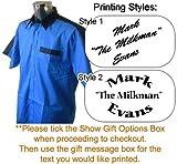 Personalizado impreso camisa, diseño de dardos, color azul/negro, XXL