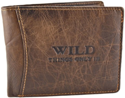 Portafogli da uomo in pelle con chiusura a portafoglio con portamonete WILD, Marrone (marrone), Größe ca. 12 x 2 x 9,5 cm