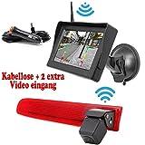 HSRpro Kabellose Funk Rückfahrkamera (Kompatibilitäts Volkswagen VW T5 und VW T6) für Ihr Transporter und Wohnwagen Wohnmobile Bremslicht inkl. 4.3 Zoll Monitor