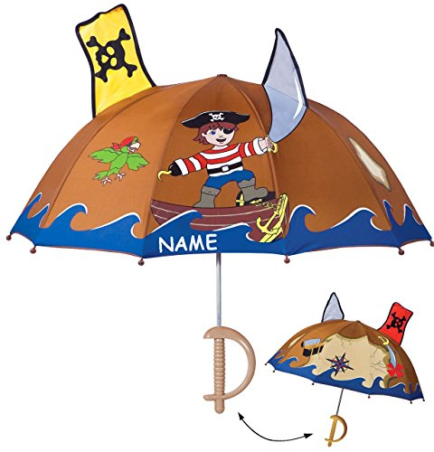 alles-meine.de GmbH 3-D Effekt _ Regenschirm -  Pirat & Piratenschiff  - incl. Name - Kinderschirm Ø 74 cm - Kinder Stockschirm Regenschirm - für Jungen & Mädchen Schirm Kinder.. -