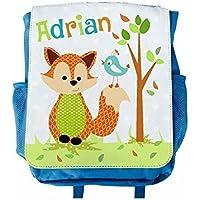 Kinder-Rucksack, mit Name, Kita, Kindergarten, Jungen, Mädchen, Fuchs, blau, personalisiert, bedruckt