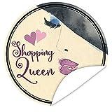 Shopping Queen Aufkleber   Veredeln Sie Geschenke mit einem tollen Aufkleber   shopping geschenk   inkl. Alles Gute - Postkarte   rund   9,5 cm