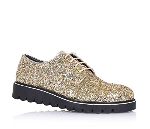MISS GRANT - Chaussure à l'anglaise à lacets dorée, complètement couverte par glitter ton-sur-ton, logo sur la languette et semelle, Fille, Filles, Femme, Femmes