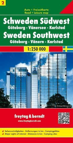 Schweden Südwest - Göteborg - Vänersee - Karlstad, Autokarte 1:250.000, Blatt 2, freytag & berndt Auto + Freizeitkarten (Landkarte Schweden)