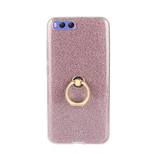 Soft Flexible TPU Back Cover Case Shockproof Schutzhülle mit Bling Glitter Sparkles und Kickstand für Xiaomi 6 ( Color : Black ) Pink