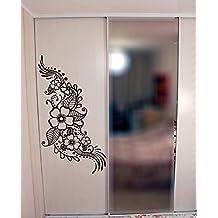 (36X70cm) Vinilo Pared Adhesivo Henna Con Flores / Tatuaje Diseno Arte Decoracion Adhesivo/India Mehandi Mural Removible + Regalo adhesivo gratis!