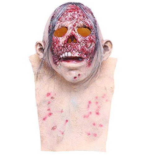 (XZANTE Halloween maskieren Zombie Latexmaske Grusel Peruecke Kahler Tyrann)
