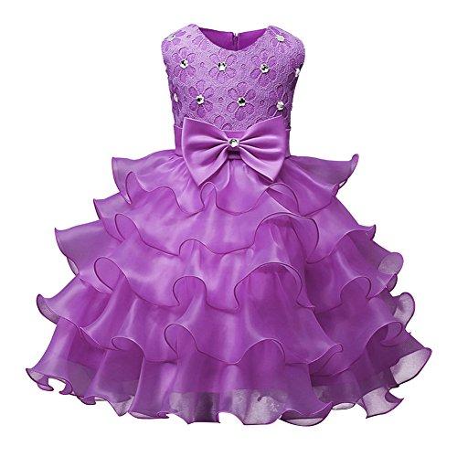Kinderbekleidung Nagel-Bead Mädchen Kleid Hochzeit Party Kleider Helles Lila 100