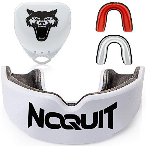 NOQUIT  Zahnschutz mit hygienischer Aufbewahrungsbox - anpassbarer Mundschutz für Erwachsene - Perfekt für Boxen, MMA, Muay Thai, American Football & Hockey inkl. Anleitung (Weiß/Schwarz)