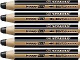 Crayon de coloriage - STABILO woody 3in1 - Lot de 5 crayons tout-terrain - Noir de bougie