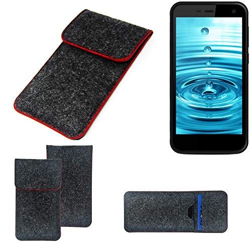 K-S-Trade® Filz Schutz Hülle Für Energizer H500S Schutzhülle Filztasche Pouch Tasche Case Sleeve Handyhülle Filzhülle Dunkelgrau Roter Rand