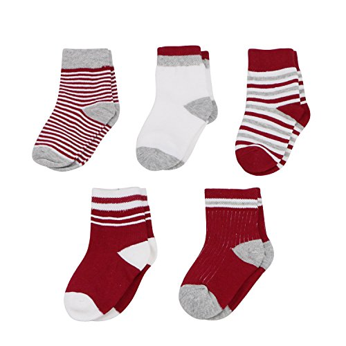 Caudblor Unisex Basic Streifen Baby Infant & Kleinkind Crew Bootie Socken, 5 Paar/0-6 Monate/Rot