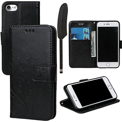 """Hülle für iPhone 7/8, xhorizon Blumenschmetterling magnetische umklappbare Brieftasche Schutzhülle mit Standfunktion und Kartensteckplätzen aus geprägtem PU-Leder für iPhone 7 / iPhone 8[4.7""""] Schwarz + Stylus + Staubstecker"""