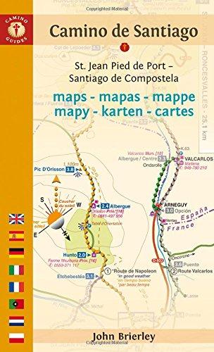 Mapa-Guía Camino de Santiago (St Jean Pied de Port-Finisterre) Inglés, español, francés, alemán, italiano, portugués, holandés, polaco. Camino Guides.