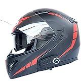 GTYW Motorradhelm Dual-Objektiv Bluetooth Helm Stereo Kommt mit FM Abnehmbar und Waschbar,A-OneSize