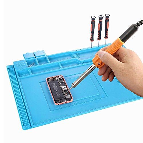 stuoia di lavoro 500 ℃ resistente al calore antiscivolo antistatico magnetica tappetino di riparazione per cellulare fotocamera monili laptop 45x 30cm Silicone stuoia di saldatura