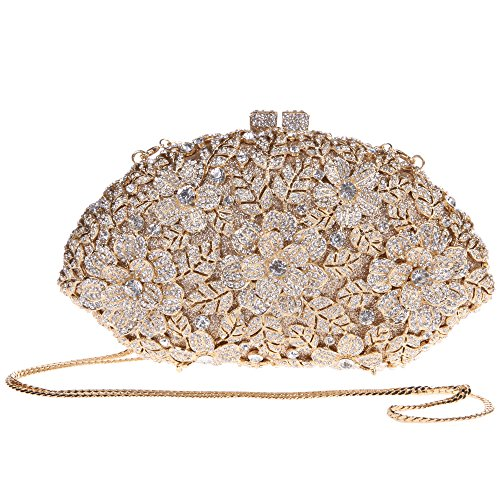 Bonjanvye Glitter Flower Ladies Hand Bags Evening Party Purses for Girl's Evening Bags Smoky Yellow gold