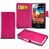 (Hot Pink) Samsung Rex 80 S5222R Super dünne Kunstleder Saugnapf Wallet Case Hülle mit Credit / Debit Card SlotsBy Spyrox