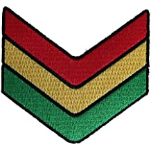 """REGGAE & RASTA Chevrons PATCH PARCHE Iron-On / Sew-On Officially Licensed Pop Culture / Love Artwork, 2.75"""" x 3"""" EMBROIDERED BORDADO Patch"""