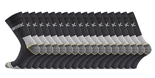 TippTexx24 ARBEITSSOCKEN v FussFreunde m Anti-Loch-Garantie, 6/9/12/15/18/21 PAAR, STARKE MÄNNER, NORMALLANG/KURZSCHAFT Ökotex100 Standard (51/54, schwarz 18 Paar)