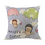 JMETRIC Ostern Quadratischer Kissenbezug, Happy Easter Druck Leinen Baumwolle Kissenbezug Kopfkissenbezug(Mehrfarbig5)