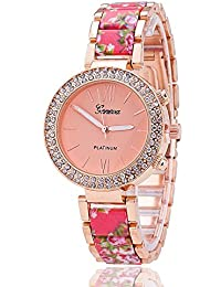 YELLOW CHIMES Floral Pattern Crystal Dial Frame Pink Dial Analog Watch For Women And Girls