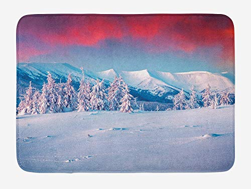 KAKICSA Landscape Bath Mat, Sunset Dawn in Winter Snowy with Pine Trees Forest Mountain Wiev, Plush Bathroom Decor Mat with Non Slip Backing, Dark Coral White Sky Blue,19.6X31.4 inch (Dawn Products Food)
