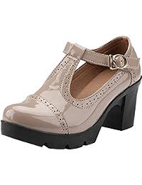 5e21863829e DADAWEN Women s T-Strap Platform Court Shoes Mid Heel Mary Jane Oxfords  Dress Shoes