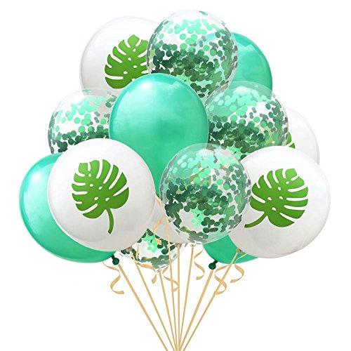 Navigatee Confetti Balloons - Confetti Balloons - 15pcs 12inch Flamingo Ananas Schildkröte Blatt Latex Luftballons Transparent Welle Punkt Konfetti Luftballons Sets, für Hochzeitsfeier, Geburtstagsfei