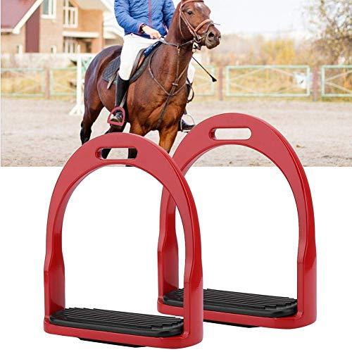 Pssopp Pferd Steigbügel Sicherheits Steigbügel Edelstahl Reitfarbe Aluminium Leichte Pferd Steigbügel Reiten Sattel mit Gummi Pferdematte für Sicherheit Reiten(Rot)