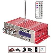 Amplificador de Coche , MENGGOOD 12V Mini Hi-Fi Amplificadores Estéreo Bluetooth Digital AMP Audio Reproductor de Música con Control Remoto Apoyo FM MP3 SD USB DVD para Auto Coche Barco Motocicleta Casa [Rojo]