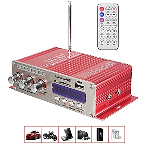 Car Amplifier , MENGGOOD Mini Hi-Fi Bluetooth Stereo Digital Power Amplifier Digi AMP Booster Audio Music Player with Remote Control Support FM MP3 SD USB DVD for Auto Car Boat Motorcycle Home [Red]
