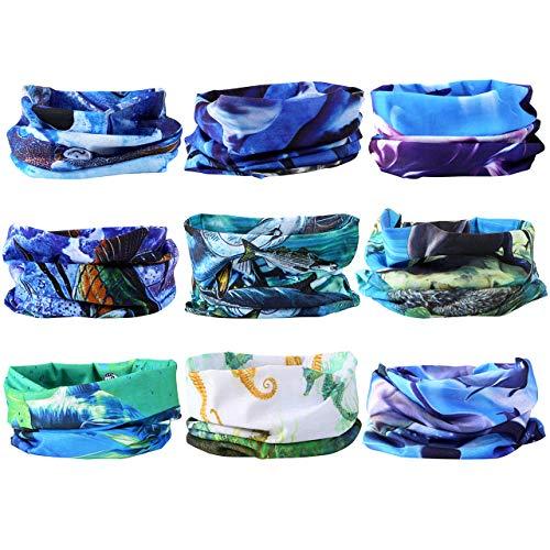 Mogokoyo 9 Stück Damen Herren Kinder Multifunktionstuch/Sturmmaske/Halstuch/Schlauchtuch/Face Shield für Motorrad Fahrrad Bergsteigen in vielen Farben (Ozean Kreatur)