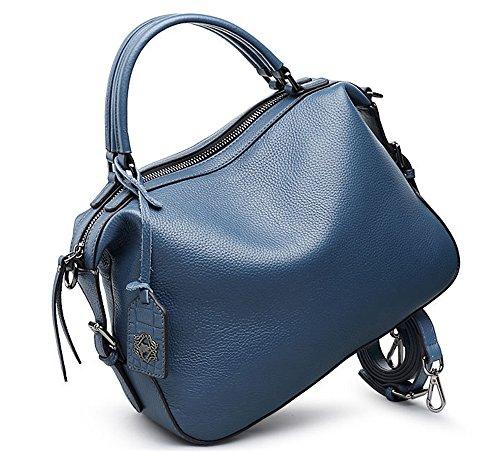 Xinmaoyuan Borse donna in pelle spalla singolo sacchetto femmina strato Baotou Vacchetta Litchi chicco grande capacità Sacchetto a cuscino colore solido borsetta,blu Blue
