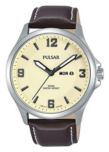 Pulsar Herren Analog Quarz Uhr mit Leder Armband PJ6085X1